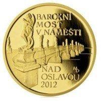 Zlatá mince ČNB Baroktní most v Náměšti nas Oslavou PROOF